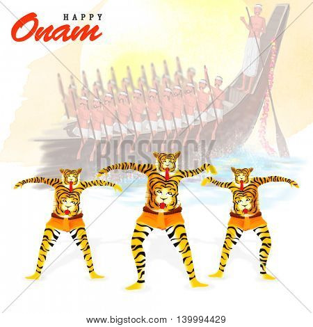Illustration of people performing Tiger Dance (Puli Kali) on creative boat race view background for South Indian Festival, Happy Onam celebration.