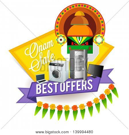 Best Offers Sale promotional background with illustration of electronic appliances and Kathakali Dancer Face for Happy Onam Festival celebration.
