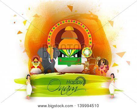 Culture of Kerala as Kathakali Dancer Face, Decorated Elephant, King Mahabali, Girls in Traditional Greeting Pose, Puli Kali (Tiger Dance) for Happy Onam Festival celebration.