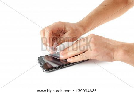 Men's Hands Are Fixed On The Phone Screen Protective Film