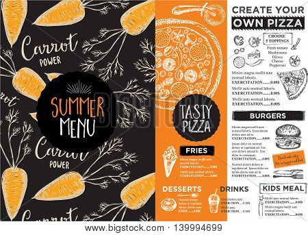 Menu placemat food restaurant brochure menu template design. Vintage creative dinner template with hand-drawn graphic. Vector food menu flyer.