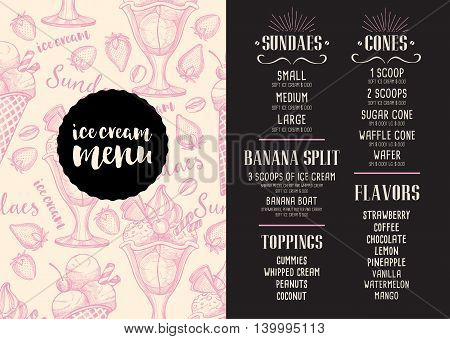 Ice cream menu placemat food restaurant brochure template design. Vintage creative dinner flyer with hand-drawn graphic.