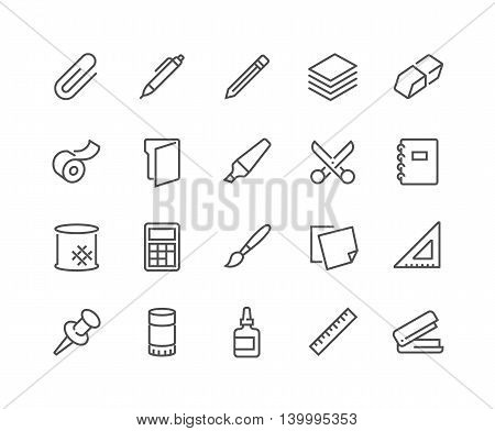 Simple Set of Stationery Related Vector Line Icons. Contains such Icons as Duct Tape, Paper, Eraser, Pen, Pencil and more. Editable Stroke. 48x48 Pixel Perfect.
