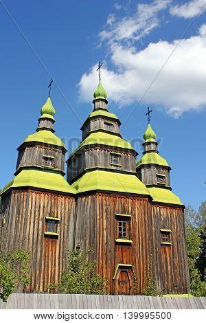 View of old Ukrainian church in Pirogovo, Ukraine
