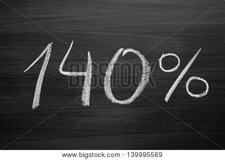 140 percent header written with a chalk on the blackboard