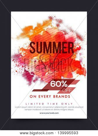 Summer Sale and Discounts, Summer Sale Poster, Sale Banner, Sale Flyer, 60% off on every brands, Limited Time Sale, Sale Background with watercolor splash, Abstract vector illustration.