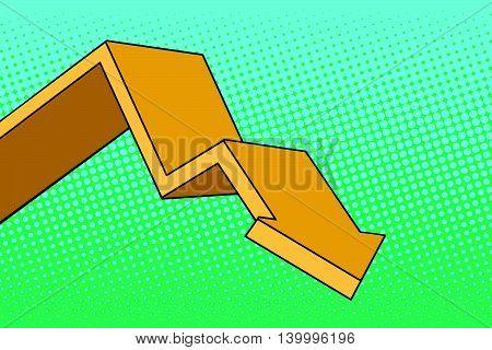 Chart arrow course pop art retro vector illustration