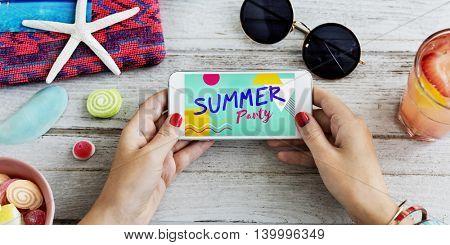 Summer Party Beach Celebration Mobile Phone Concept