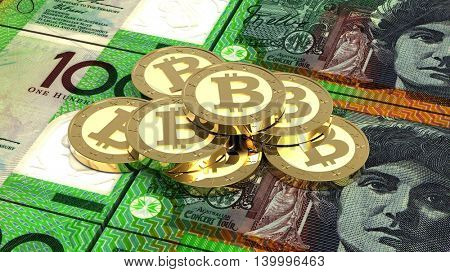 Stack of bitcoins with Australian dollar bills. 3D illustration.