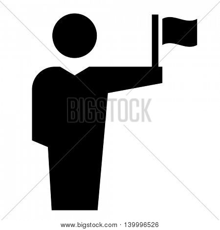 Man with flag icon