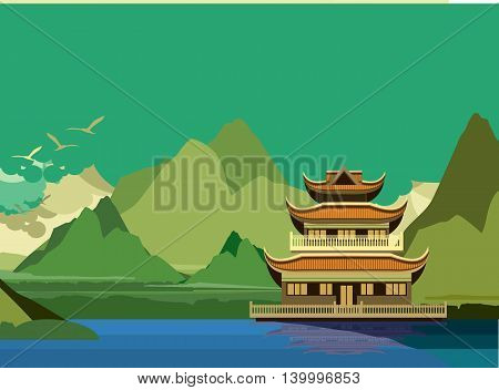 vector illustration of an old Buddhist temple on the banks of the river in the highlands