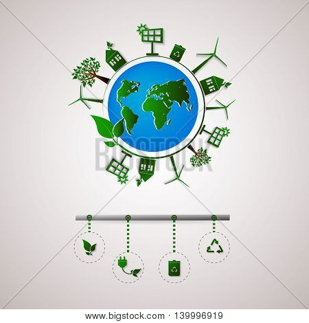 Green planet vector info graphic illustration. Ecology flat design. Ecology icons