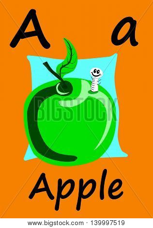 Child's flashcard learn the alphabet and how to spell. A is for Apple.