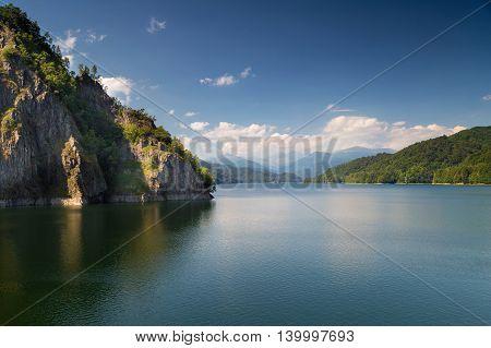 Summer landscape of Vidraru lake, in Romania