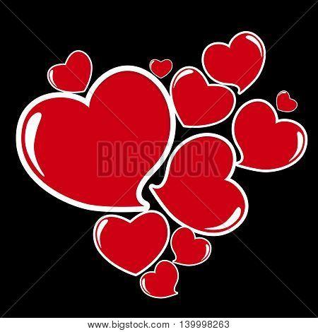 Heart Form Sticker on Black Vector Illustration EPS10