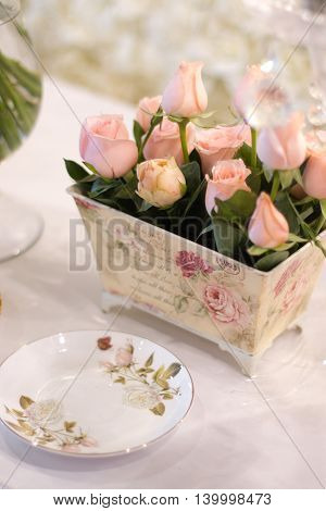 Wedding decoration, flower bouquet and corsage for wedding reception