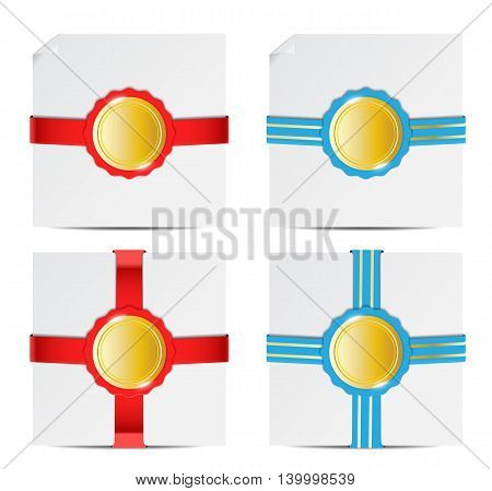 paper with badge in blue and red color isolated