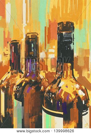 colorful bottle of wine, illustration digital painting