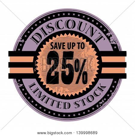 Grunge rubber stamp with the text Discount, Limited Stock written inside the stamp, vector illustration