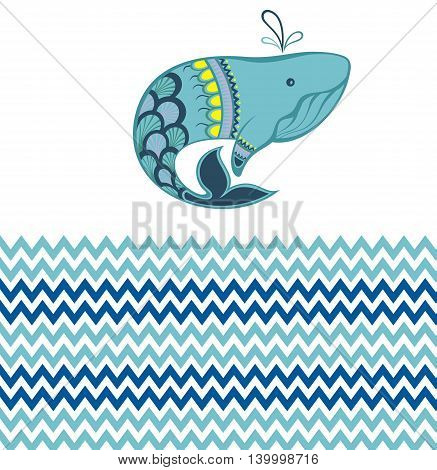 Seamless sea pattern with funny whale. Summer marina background. Stock vector.