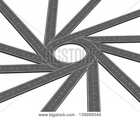 Converging road or highway business metaphor representing the concept of a concentrating multiple paths to focus together as a concept of unity in a 3D illustration style isolated on a white background.