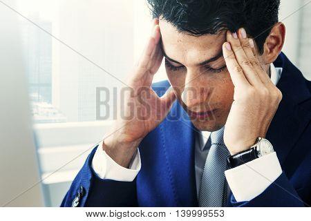 Businessman Stress Gesture Office Concept