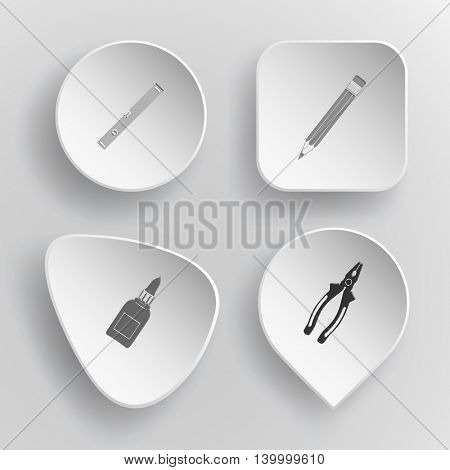 4 images: spirit level, pencil, glue bottle, pliers. Angularly set. White concave buttons on gray background. Vector icons.