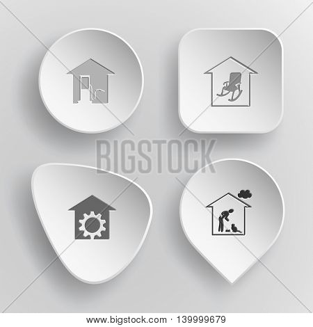 4 images: car fueling, home comfort, repair shop, cat. Home set. White concave buttons on gray background. Vector icons.