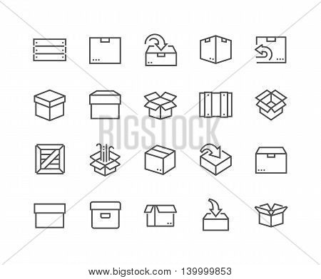Simple Set of Box Related Vector Line Icons. Contains such Icons as Open Box, Package Return, Wooden Crate and more. Editable Stroke. 48x48 Pixel Perfect.