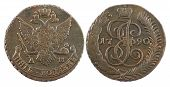 two sides of Russian 5 kopeck coin at 1790 poster