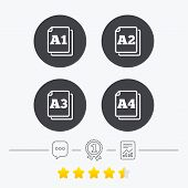 Paper size standard icons. Document symbols. A1, A2, A3 and A4 page signs. Chat, award medal and report linear icons. Star vote ranking. Vector poster