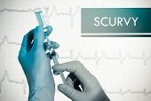 Stop scurvy. Syringe is filled with injection. Syringe and vaccine poster