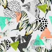 Abstract natural geometric seamless pattern. Triangles with butterfly and marble grunge textures. Abstract geometric background in retro vintage 80s 90s pop art. Hand drawn summer natural illustration poster
