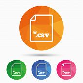 File document icon. Download tabular data file button. CSV file extension symbol. Triangular low poly button with flat icon. Vector poster