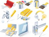 Vector home repair service icon set poster