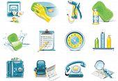 Vector car wash service icon set poster