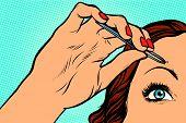 woman plucking eyebrows depilating with tweezers pop art retro vector. Makeup and beauty poster