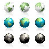 Globes set, vector poster