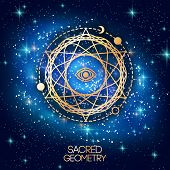 Sacred Geometry Emblem with Eye in Star on Shining Galaxy Space Background. Vector illustration. Geometric Logo Design, Spirograph Interweaving Lines. Alchemy Symbol, Occult and Mystic Sign. poster