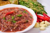 Close up Shrimp Paste Chilli Sauce (Nam Prik Ka Pi) serve with vegetable Thai Food poster