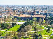 High dynamic range HDR Aerial view of Parco Sempione park in the city of Milan in Italy poster