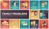 Set of modern vector flat design icons and pictograms of family problems. Violation, psychological abuse, qurrels, poverty, alcohol, criticism, loss of intimacy, relatives interference, cheating poster