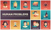 Set of modern vector flat design icons and pictograms of common human psychological problems. Crisis, impatience, depression, panic attacs, insecurity, phobia, addictions, aimlessness, laziness, energy, time lack poster