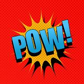 POW comic cartoon. Pop-art style. Vector illustration with blue title, yellow blot and red background with halftone effect. Template for web and mobile applications poster
