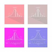 Flat Icons Illustration Set of 4 Gaussian Bell Shape or Normal Distribution Curve Charts.. poster