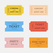Ticket vector icons isolated from the background in flat style. Ticket stubs to events such as movie concert and party. Simple vintage paper tickets for any activity. poster