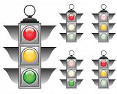 Ful signals set of vector traffic lights poster