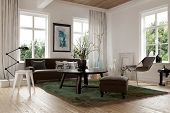 Cozy homely living room interior with a sofa, stools and chairs arranged in the corner surrounded by bright windows looking onto garden greenery, 3d render poster