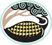 Tribal Art style illustration of a Pacific golden plover Pluvialis fluva or kolea a medium-sized plover looking up to a tree viewed from the side set inside oval shape. poster