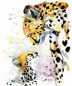 Cheetah watercolor. Cheetah and cub. Cheetah family watercolor illustration. Motherhood watercolor background poster